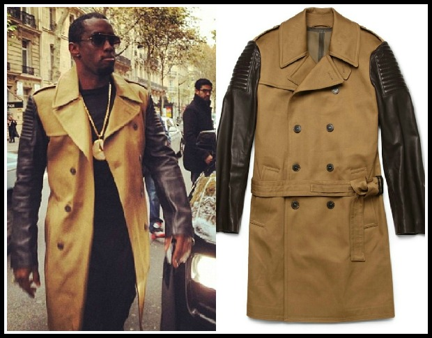 Diddy-Instagram-Paris-Simon-Spurr-Leather-Sleeve-Trench-Coat-5