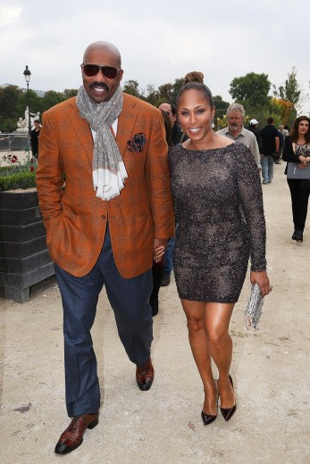 steve-harvey-marjorie-harvey-elie-saab-spring-2014-fashion-show