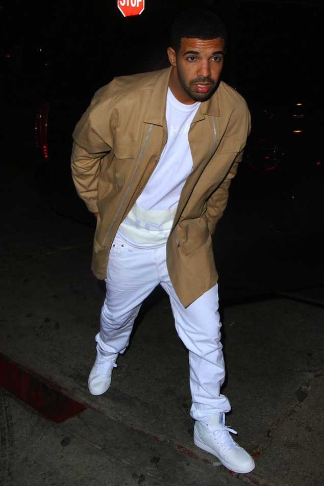 Drake-wears-Khaki-jacket-Hood-by-Air-Tee-and-Air-Jordan-retro-1-sneakers-shoes-white-1